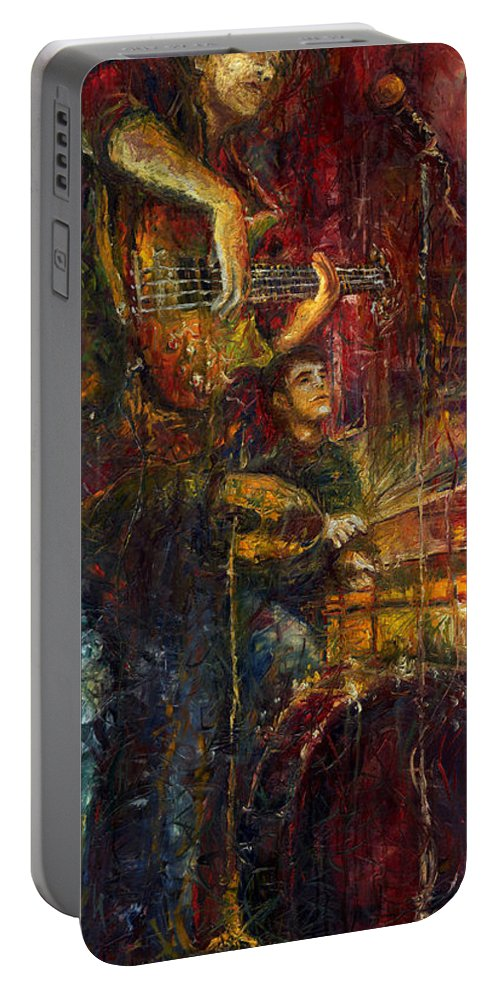 Jazz Portable Battery Charger featuring the painting Jazz Bass Guitarist by Yuriy Shevchuk