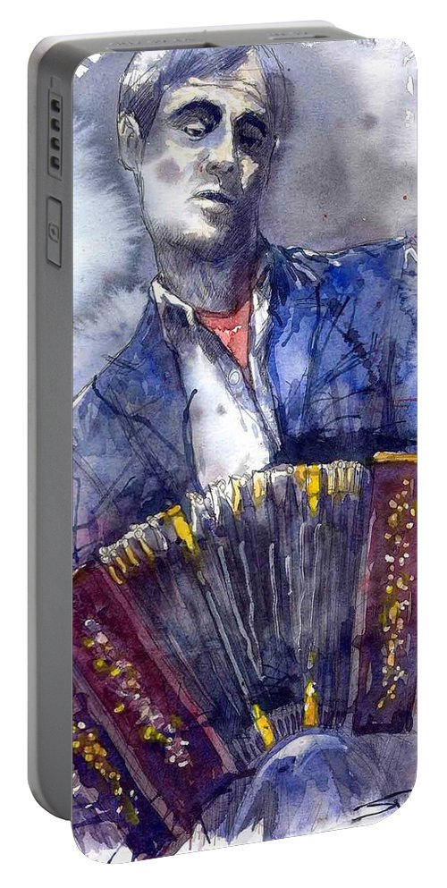 Jazz Portable Battery Charger featuring the painting Jazz Concertina Player by Yuriy Shevchuk
