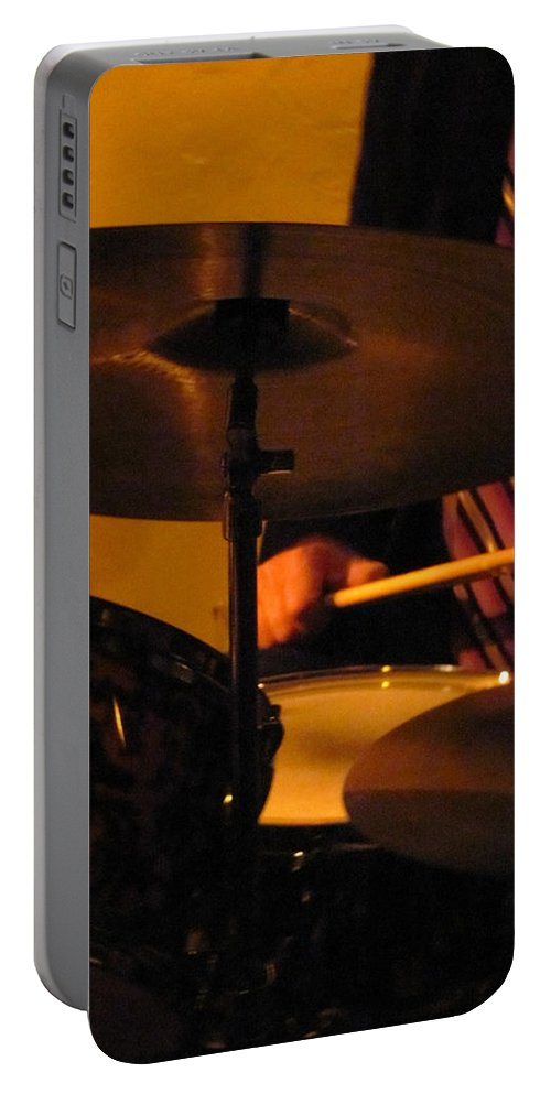 Jazz Portable Battery Charger featuring the photograph Jazz Drums by Anita Burgermeister