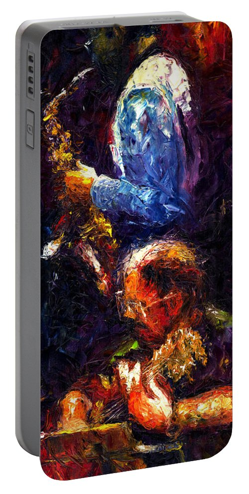 Jazz Portable Battery Charger featuring the painting Jazz Duet by Yuriy Shevchuk