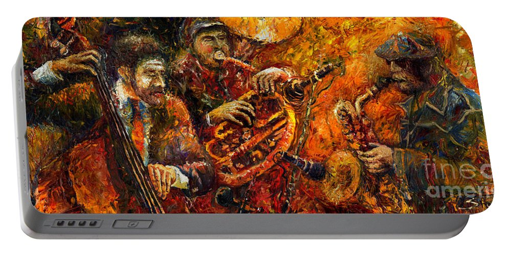Jazz Portable Battery Charger featuring the painting Jazz Gold Jazz by Yuriy Shevchuk