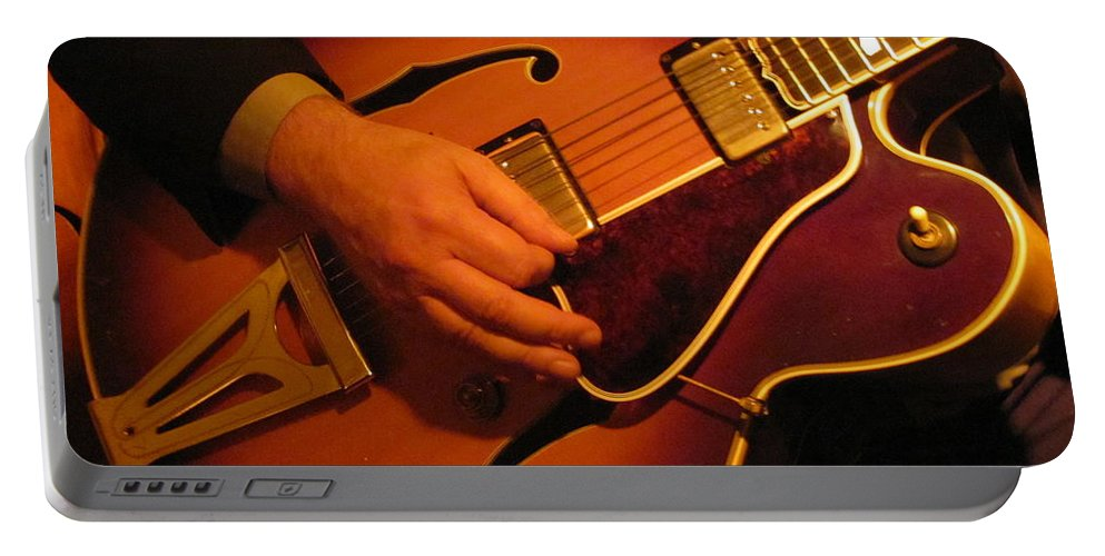 Jazz Portable Battery Charger featuring the photograph Jazz Guitar by Anita Burgermeister