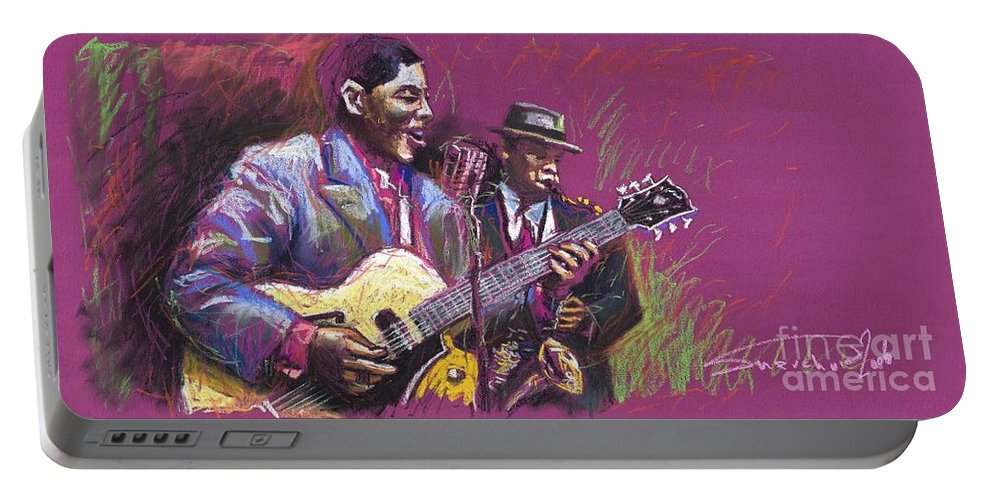 Jazz Portable Battery Charger featuring the painting Jazz Guitarist Duet by Yuriy Shevchuk