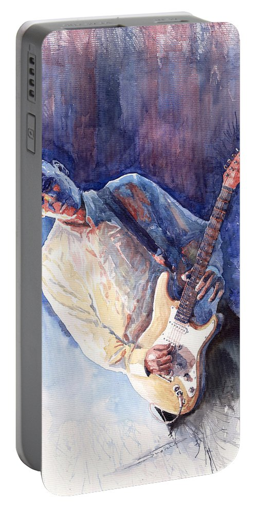 Figurativ Portable Battery Charger featuring the painting Jazz Guitarist Rene Trossman by Yuriy Shevchuk