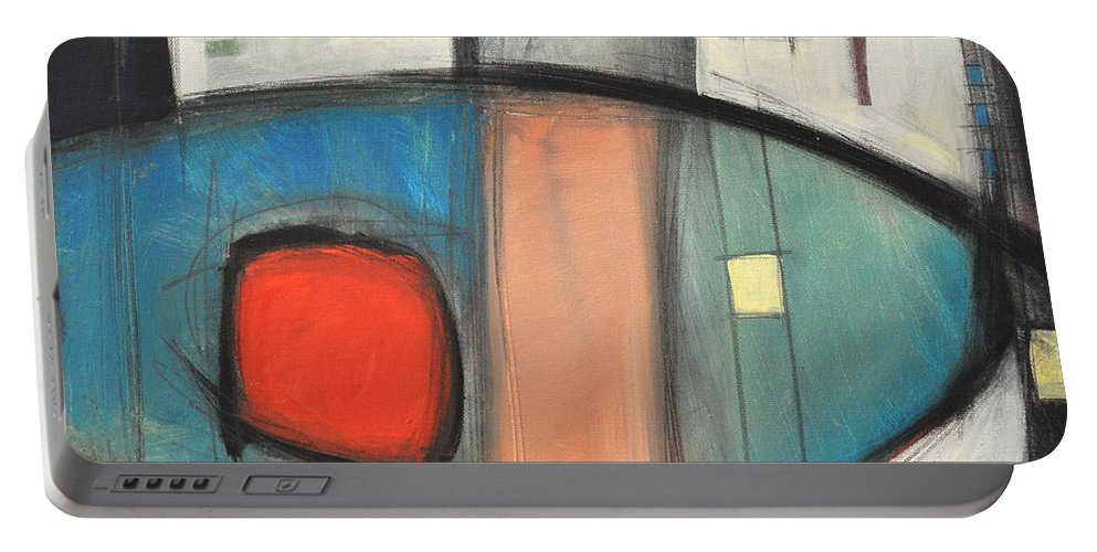 Abstract Portable Battery Charger featuring the painting Jazz Improv 081510a by Tim Nyberg