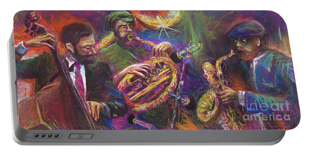 Jazz Portable Battery Charger featuring the painting Jazz Jazzband Trio by Yuriy Shevchuk