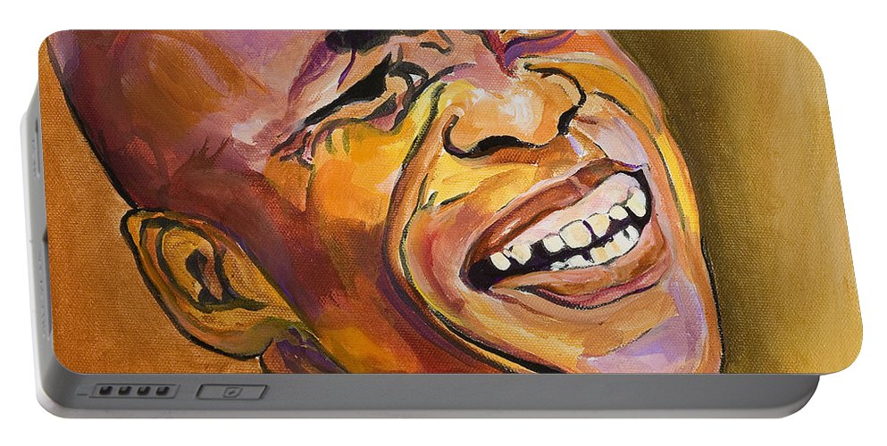 Portraits Portable Battery Charger featuring the painting Jazz Man by Pat Saunders-White