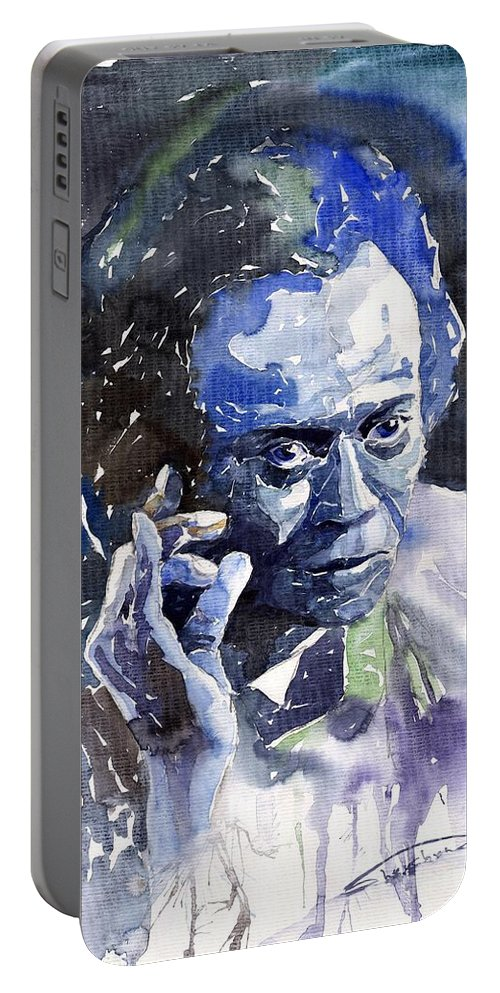 Jazz Portable Battery Charger featuring the painting Jazz Miles Davis 11 Blue by Yuriy Shevchuk