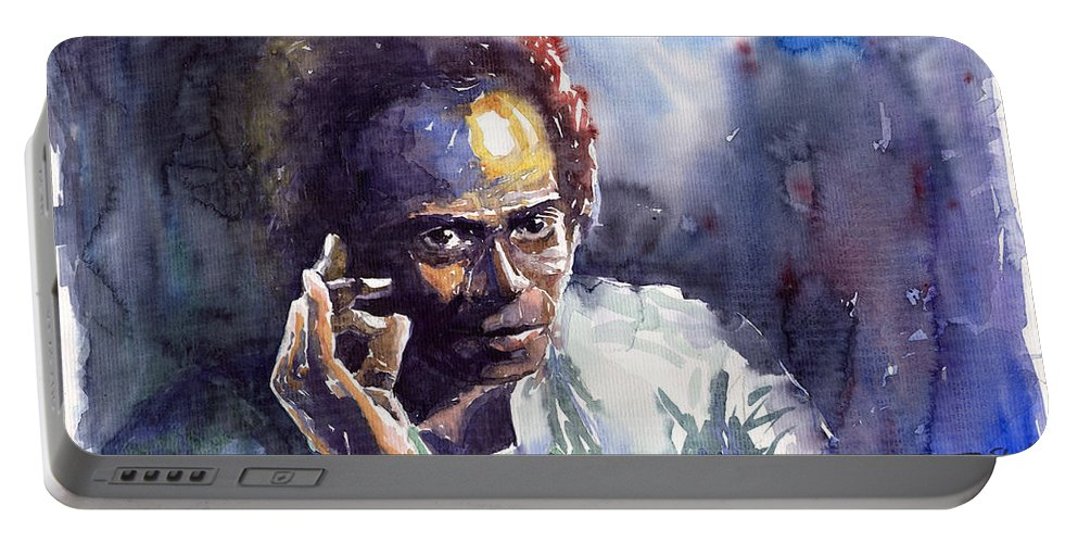 Jazz Watercolor Watercolour Miles Davis Portret Portable Battery Charger featuring the painting Jazz Miles Davis 11 by Yuriy Shevchuk