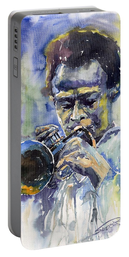 Jazz Portable Battery Charger featuring the painting Jazz Miles Davis 12 by Yuriy Shevchuk