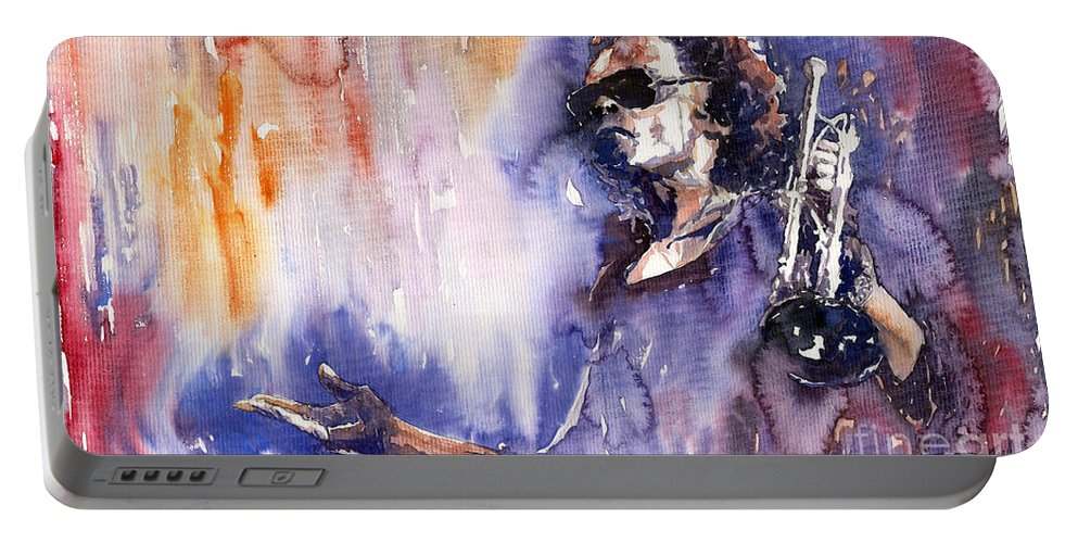 Jazz Portable Battery Charger featuring the painting Jazz Miles Davis 14 by Yuriy Shevchuk