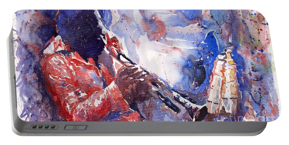 Jazz Portable Battery Charger featuring the painting Jazz Miles Davis 15 by Yuriy Shevchuk