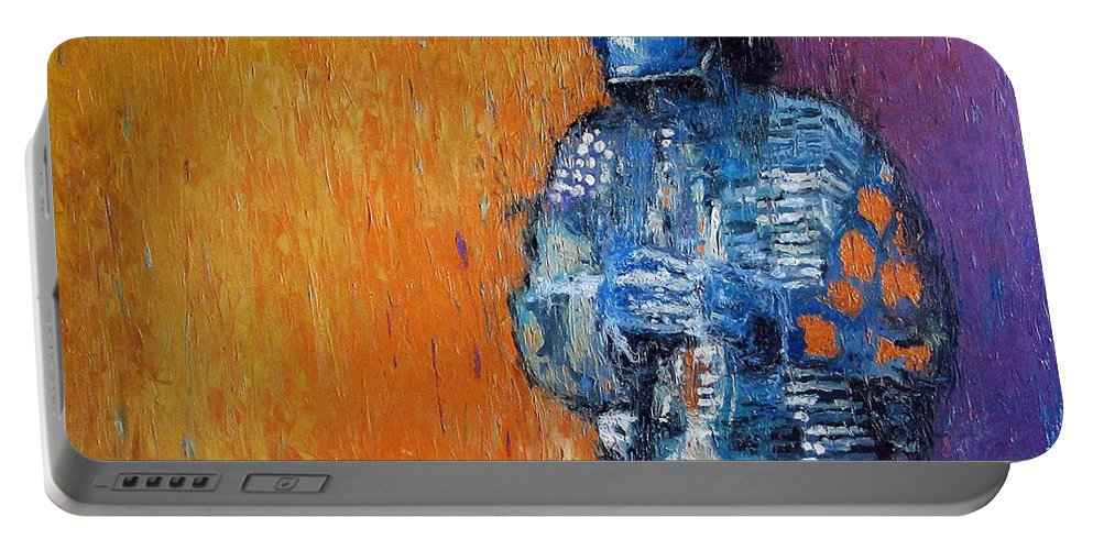 Jazz Portable Battery Charger featuring the painting Jazz Miles Davis 2 by Yuriy Shevchuk
