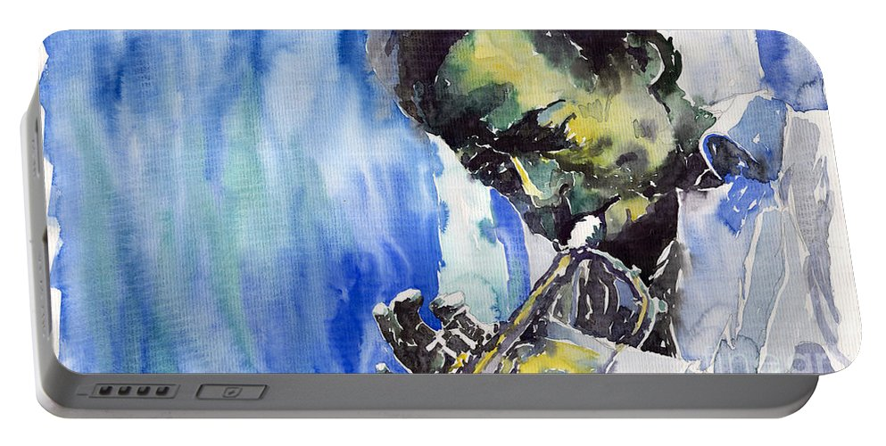 Portable Battery Charger featuring the painting Jazz Miles Davis 5 by Yuriy Shevchuk