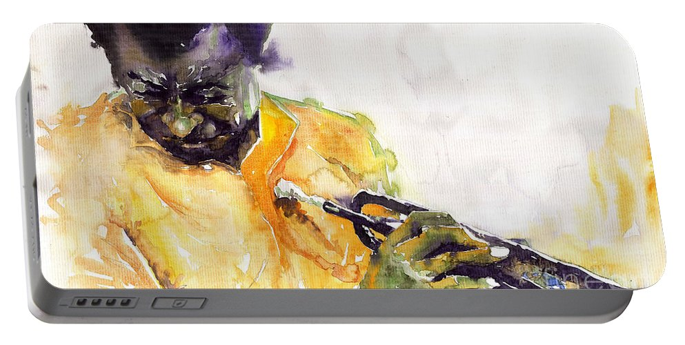 Davis Figurativ Jazz Miles Music Portret Trumpeter Watercolor Watercolour Portable Battery Charger featuring the painting Jazz Miles Davis 7 by Yuriy Shevchuk