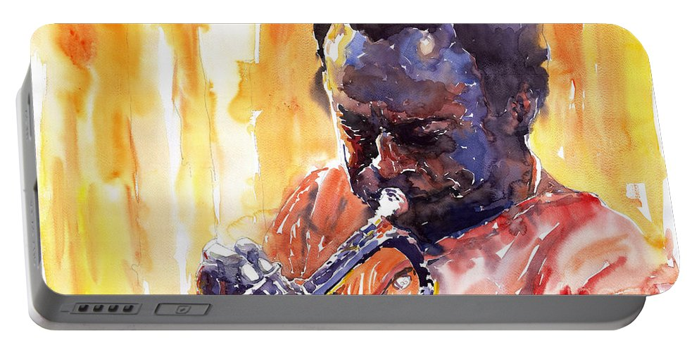 Jazz Miles Davis Music Watercolor Watercolour Figurativ Portret Trumpeter Portable Battery Charger featuring the painting Jazz Miles Davis 8 by Yuriy Shevchuk
