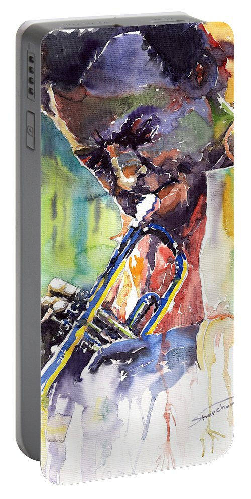 Jazz Miles Davis Music Musiciant Trumpeter Portret Portable Battery Charger featuring the painting Jazz Miles Davis 9 Blue by Yuriy Shevchuk