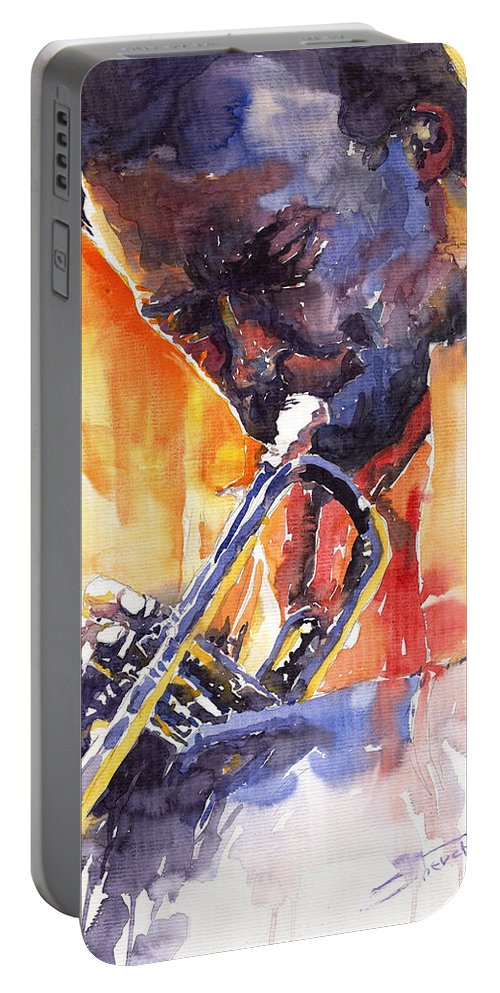Jazz Portable Battery Charger featuring the painting Jazz Miles Davis 9 Red by Yuriy Shevchuk