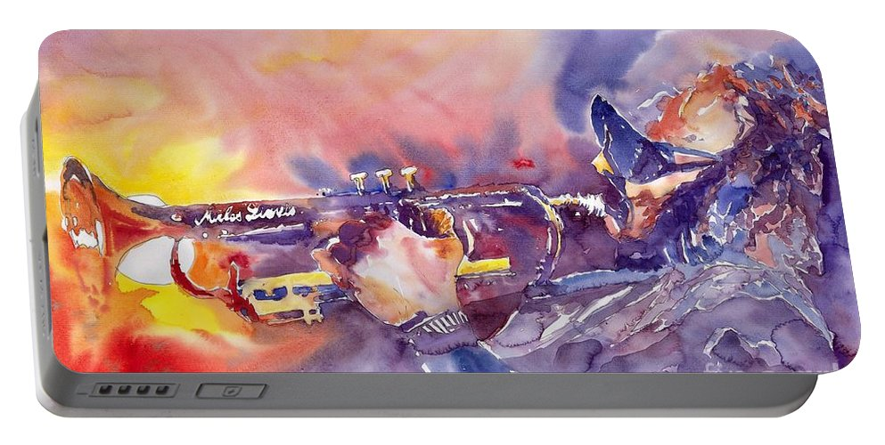 Jazz Watercolor Miles Davis Music Musician Trumpeter Figurative Watercolour Portable Battery Charger featuring the painting Jazz Miles Davis Electric 1 by Yuriy Shevchuk
