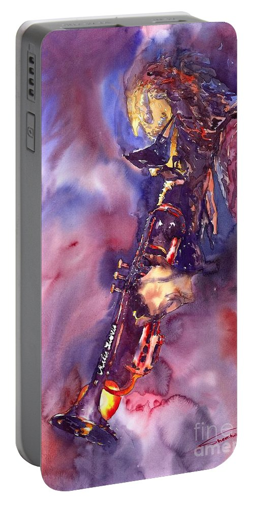 Davis Figurative Jazz Miles Music Musiciant Trumpeter Watercolor Watercolour Portable Battery Charger featuring the painting Jazz Miles Davis Electric 3 by Yuriy Shevchuk