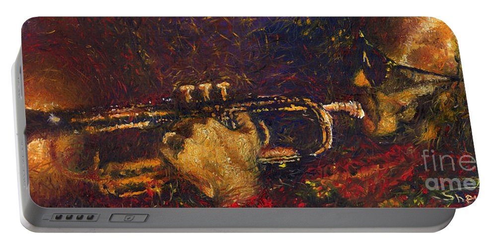Jazz Portable Battery Charger featuring the painting Jazz Miles Davis by Yuriy Shevchuk