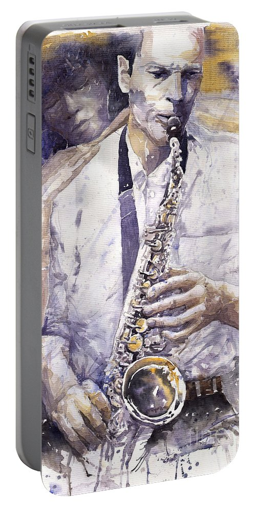 Jazz Portable Battery Charger featuring the painting Jazz Muza Saxophon by Yuriy Shevchuk
