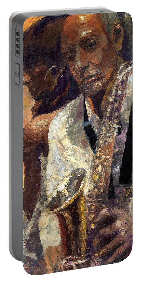 Jazz Portable Battery Charger featuring the painting Jazz Muza by Yuriy Shevchuk
