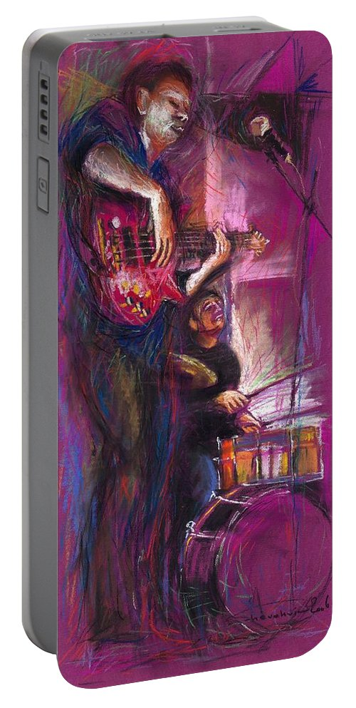 Jazz Portable Battery Charger featuring the painting Jazz Purple Duet by Yuriy Shevchuk