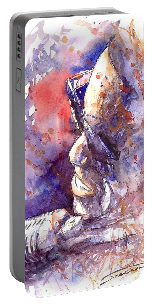 Portret Portable Battery Charger featuring the painting Jazz Ray Charles by Yuriy Shevchuk