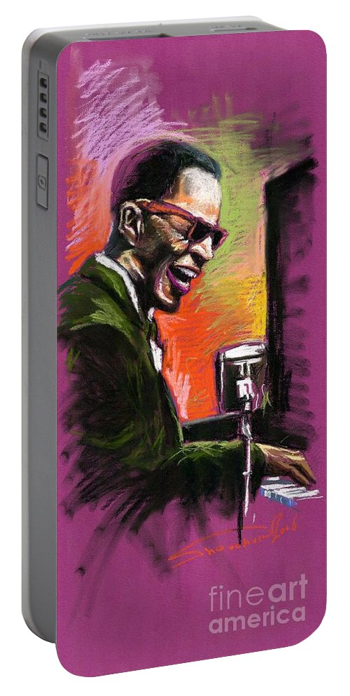 Portable Battery Charger featuring the painting Jazz. Ray Charles.2. by Yuriy Shevchuk