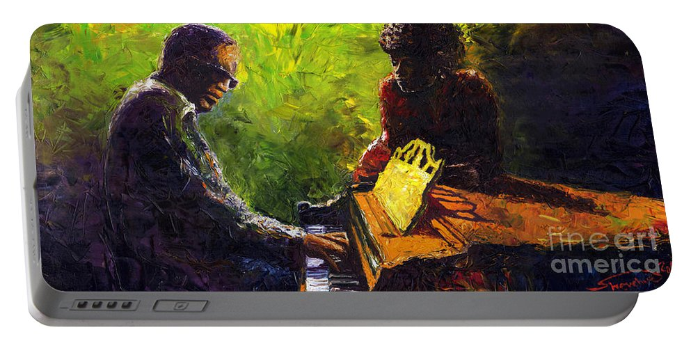 Jazz Portable Battery Charger featuring the painting Jazz Ray Duet by Yuriy Shevchuk