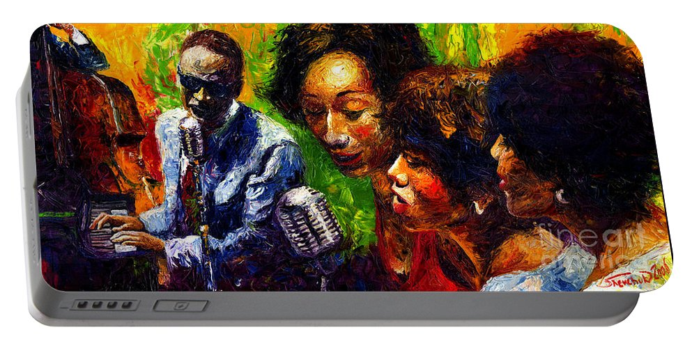 Jazz Portable Battery Charger featuring the painting Jazz Ray Song by Yuriy Shevchuk