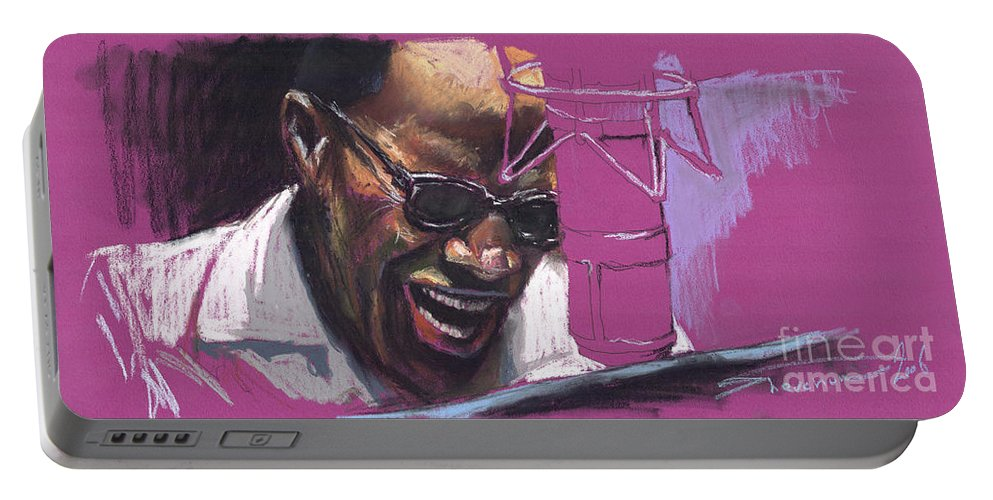 Jazz Portable Battery Charger featuring the painting Jazz Ray by Yuriy Shevchuk