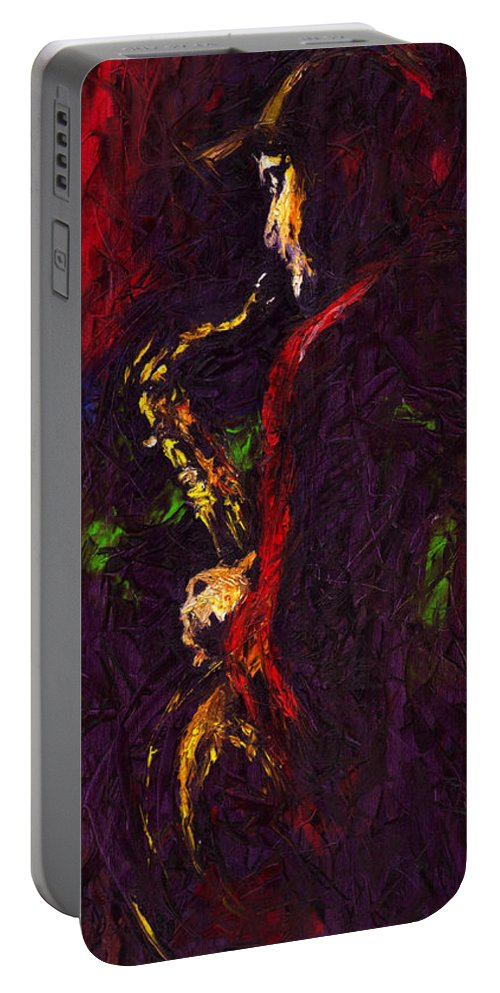 Jazz Portable Battery Charger featuring the painting Jazz Red Saxophonist by Yuriy Shevchuk