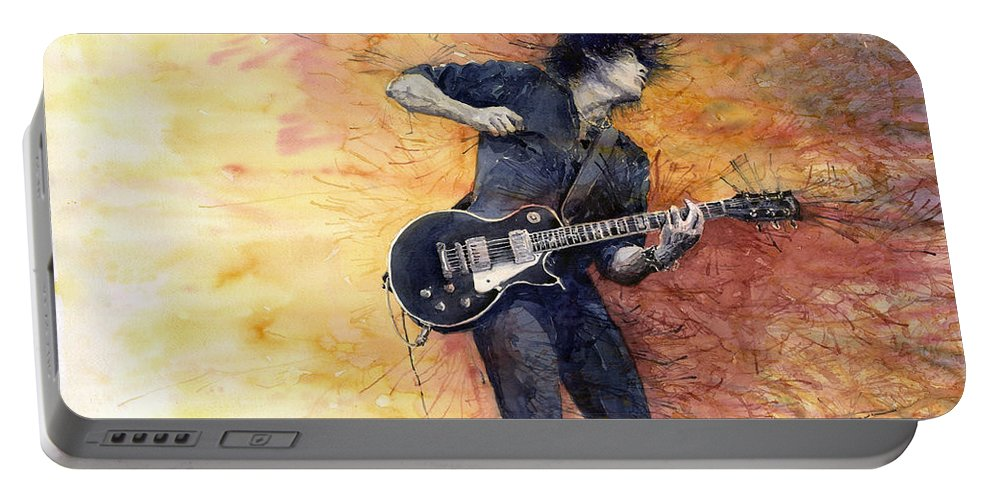 Figurativ Portable Battery Charger featuring the painting Jazz Rock Guitarist Stone Temple Pilots by Yuriy Shevchuk