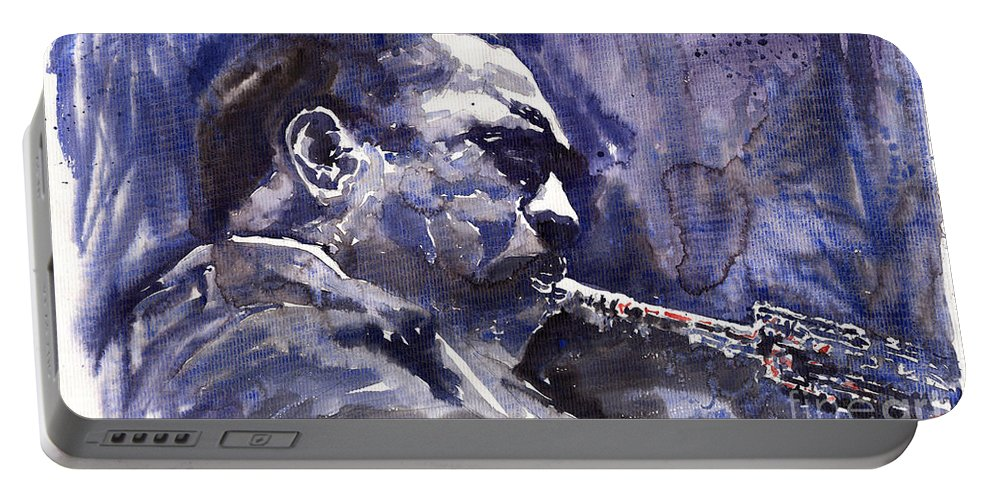 Jazz Portable Battery Charger featuring the painting Jazz Saxophonist John Coltrane 01 by Yuriy Shevchuk