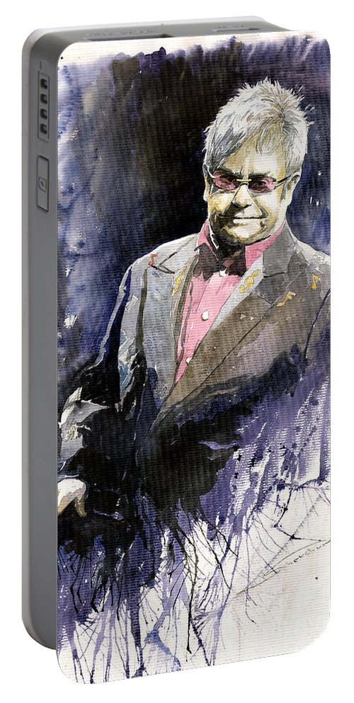 Watercolour Portable Battery Charger featuring the painting Jazz Sir Elton John by Yuriy Shevchuk