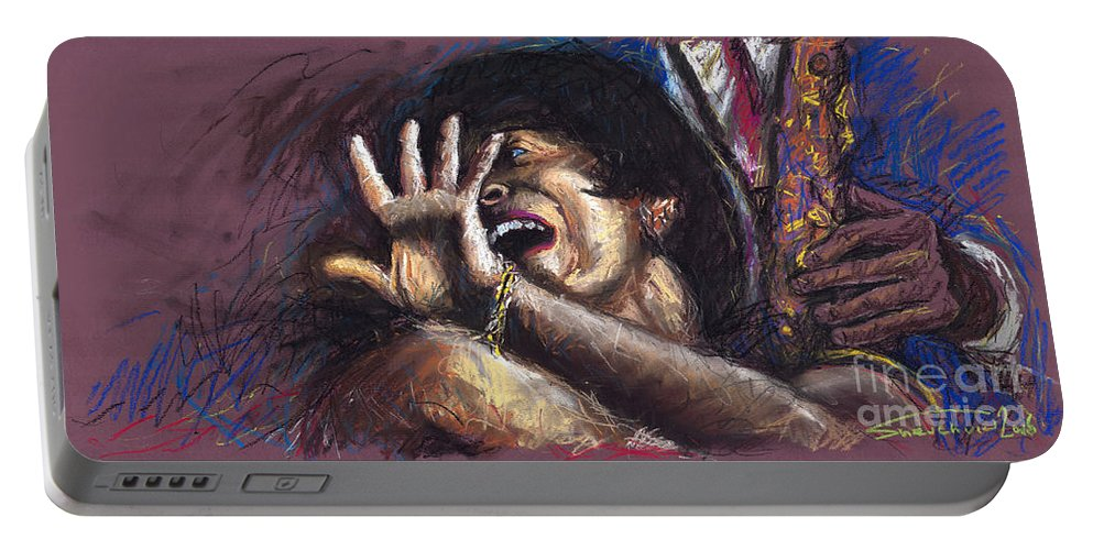 Jazz Portable Battery Charger featuring the painting Jazz Song 1 by Yuriy Shevchuk
