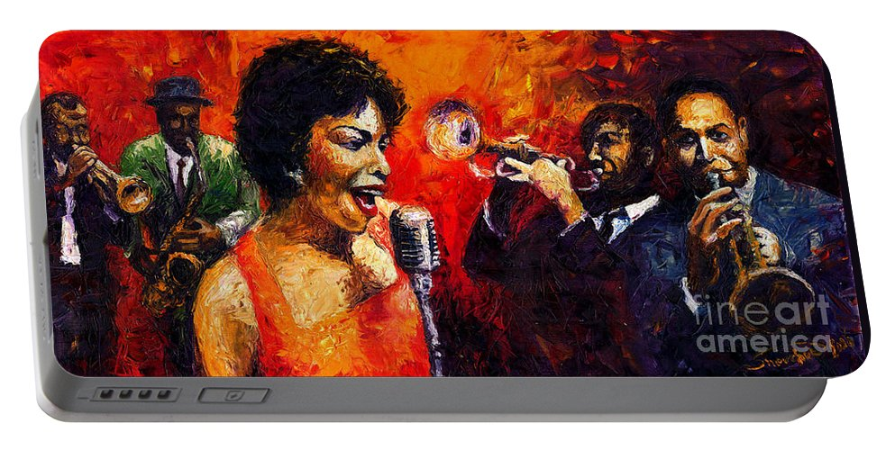 Jazz.song.trumpeter Portable Battery Charger featuring the painting Jazz Song by Yuriy Shevchuk