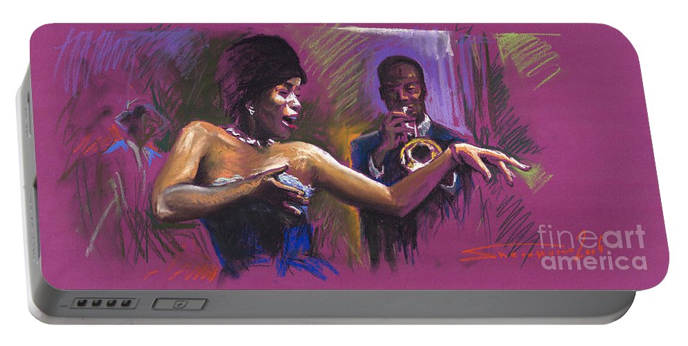 Jazz Portable Battery Charger featuring the painting Jazz Song.2. by Yuriy Shevchuk