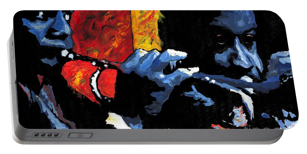 Jazz Portable Battery Charger featuring the painting Jazz Trumpeters by Yuriy Shevchuk