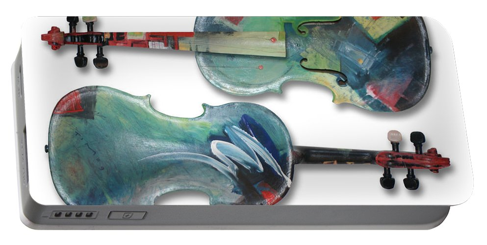 Violin Portable Battery Charger featuring the painting Jazz Violin - Poster by Tim Nyberg