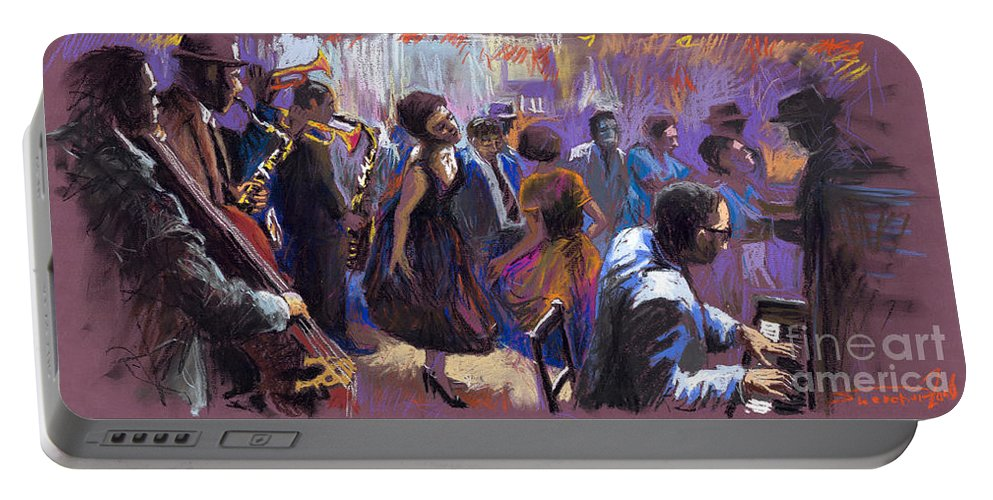 Jazz.pastel Portable Battery Charger featuring the painting Jazz by Yuriy Shevchuk