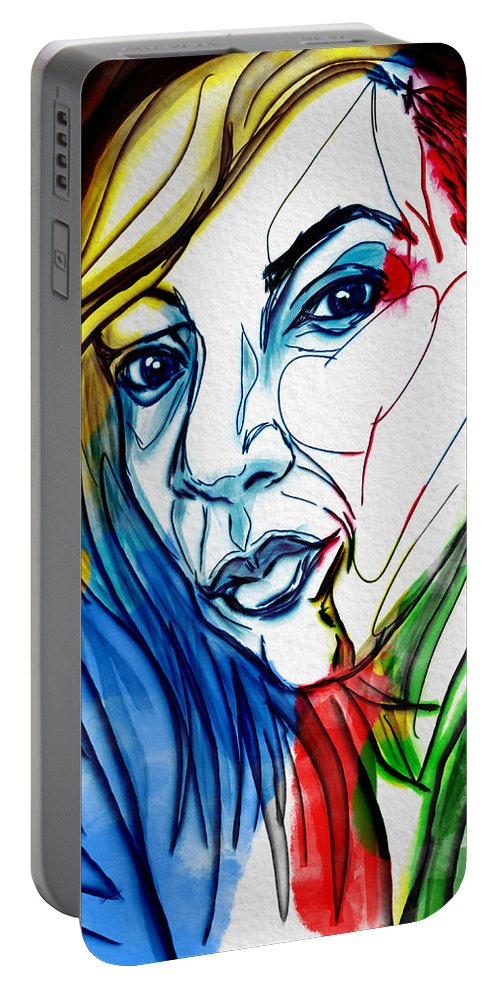 Portrait Portable Battery Charger featuring the digital art Je Regarde by Michael Kallstrom