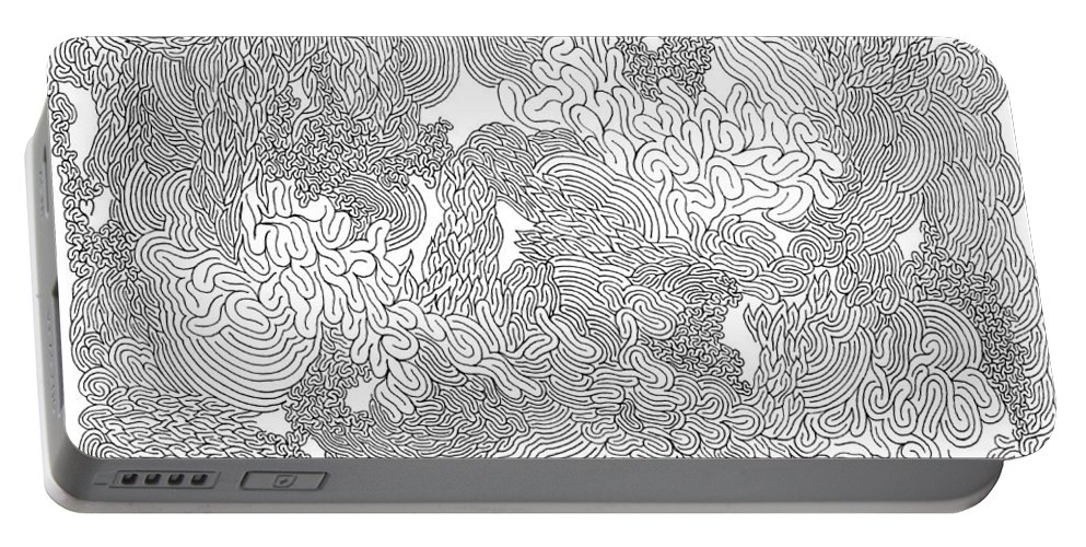 Mazes Portable Battery Charger featuring the drawing Jealousy by Steven Natanson