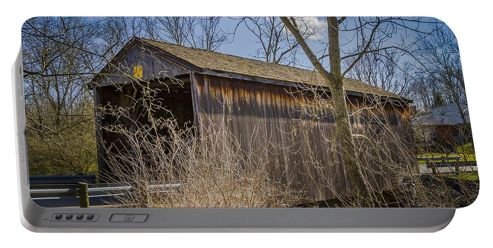 America Portable Battery Charger featuring the photograph Jediah Hill Covered Bridge by Jack R Perry