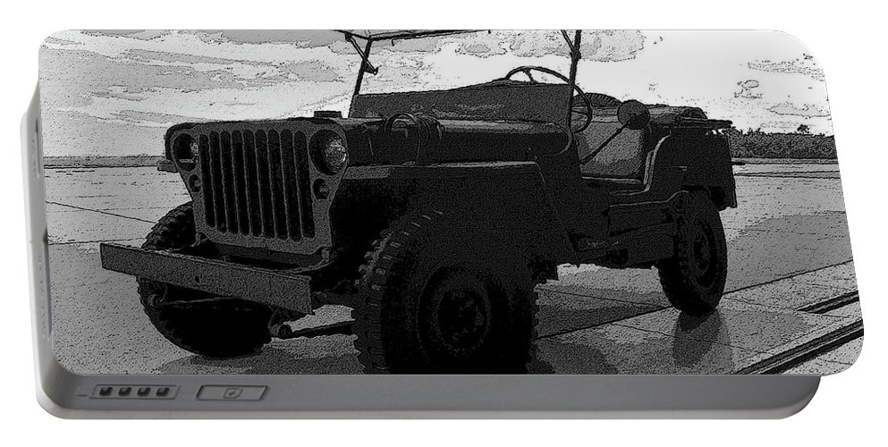 Art Portable Battery Charger featuring the painting Jeep by David Lee Thompson