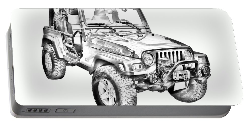 Automobile Portable Battery Charger featuring the photograph Jeep Wrangler Rubicon Illustration by Keith Webber Jr