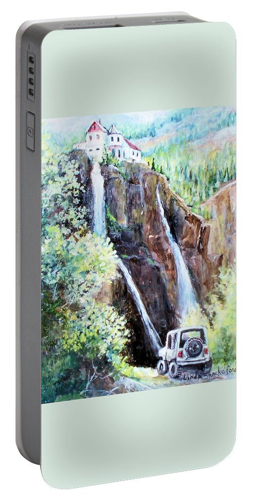 Waterfall Portable Battery Charger featuring the painting Jeeping At Bridal Falls by Linda Shackelford