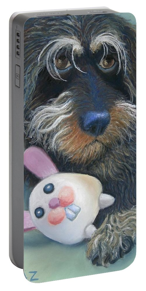 Dog Portable Battery Charger featuring the painting Jeez Donot Touch Ma Squeez by Minaz Jantz